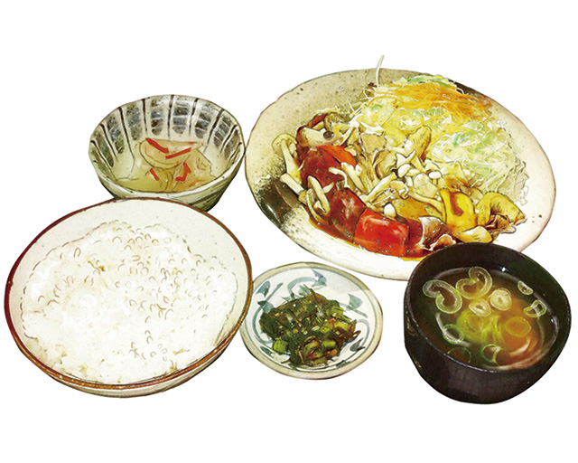 信州きのこと鶏肉の特製黒酢あん定食