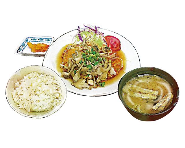 きのこソースのチキン竜田定食