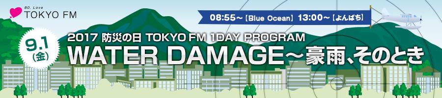 9/1 (金) 2017 防災の日 TOKYO FM 1DAY PROGRAM WATER DAMAGE 〜豪雨、そのとき 9:00【Blue Ocean】〜19:00【Skyrocket Company】でオンエア